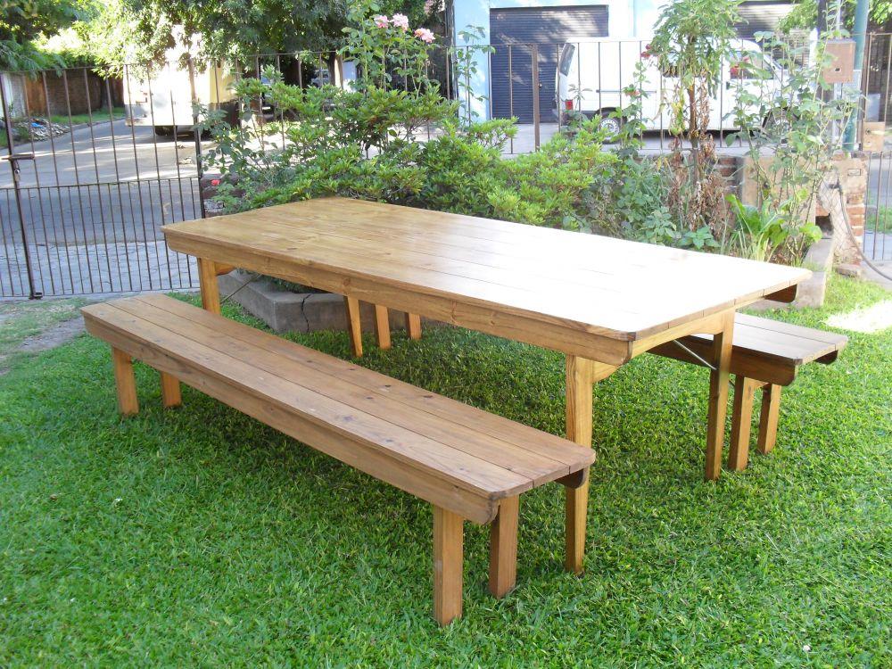 Juego de mesa y bancos plegables de jardin for Bancos de jardin carrefour
